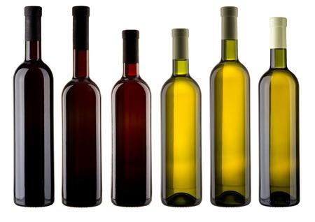 bouteille de vin: Ensemble de bouteilles de vin vides Banque d'images