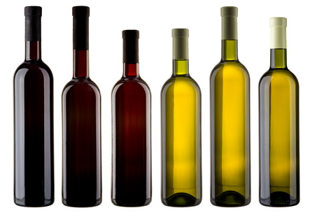 Set of blank wine bottles photo