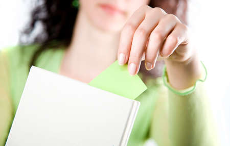 bookmark: Female hand bookmark book Stock Photo