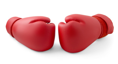 boxing equipment: Red boxing gloves isolated Stock Photo