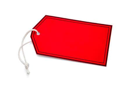 paper hanger: Red tab hanger Stock Photo