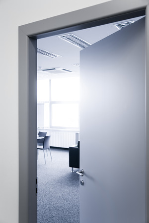 glass door: Open office door window chairs and carpet