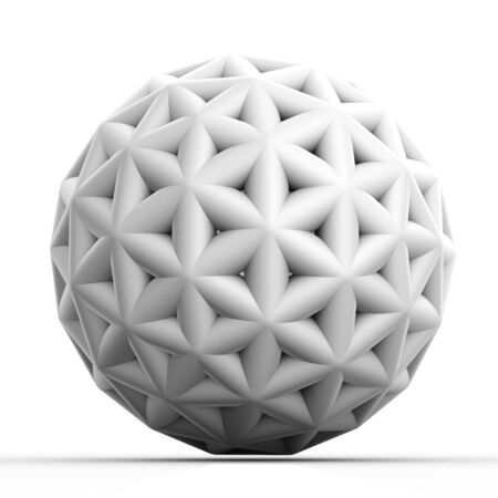Geometric 3D object on white  mathematical construction Stock Photo