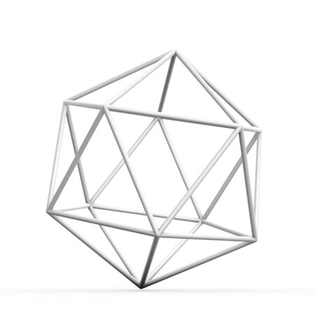 radiosity: Geometric 3D object on white  mathematical construction Foto de archivo