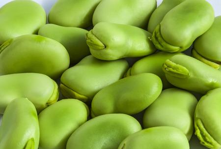Broad bean green seeds lat. Visia faba. Fava bean field bean bell bean tic bean Stock Photo