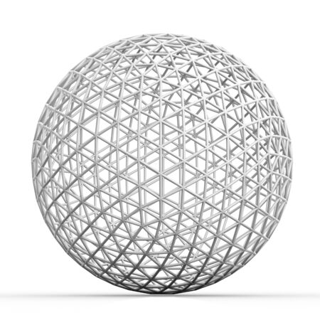 3d object: Geometric 3D object on white  mathematical construction Stock Photo