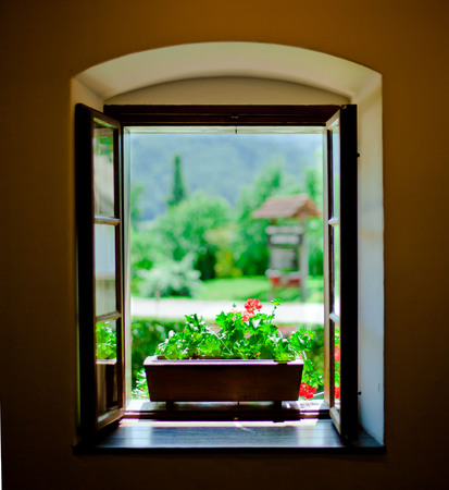 Window view towards garden
