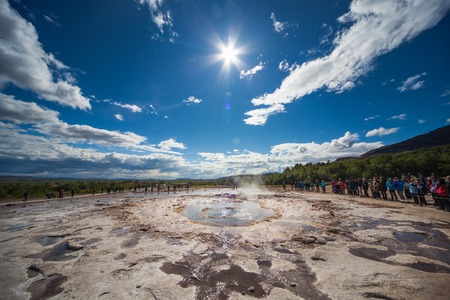 Stokkur, Iceland - July 20, 2015: Eruption, Geysir Stokkur, amazing location in the Golden Circle near Reykjavik. Erupting copiously and frequently: as often as every 4 to 8 minutes. Its also one of the countrys highest geysers.