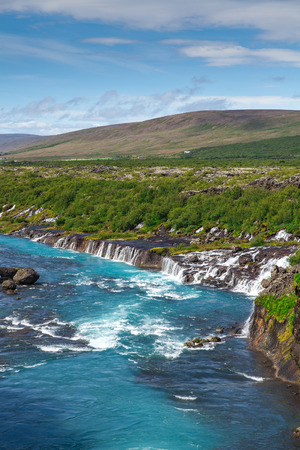 Iceland, Hraunfossar waterfalls in a beautiful sunny summer day Stock Photo