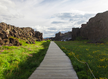 rift: Thingvellir National Park - famous area in Iceland right on the spot where the atlantic tectonic plates meets. Stock Photo