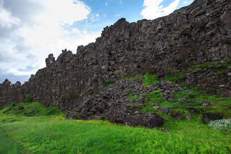 tremor: Thingvellir National Park - famous area in Iceland right on the spot where the atlantic tectonic plates meets. Stock Photo
