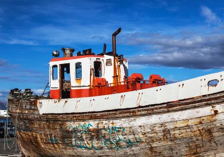 hull: old boat hull in dry dock