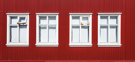 Vintage windows in Reykjavik Iceland