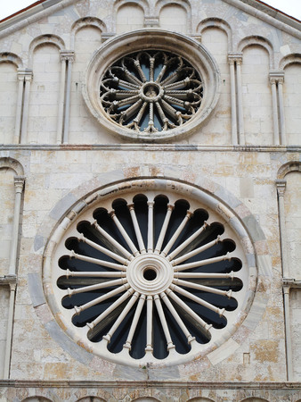 Zadar in Dalmatia. Cathedral of Saint Anastasia. Facade detail.