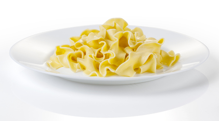 Tagliatelle Pasta on a White Plate