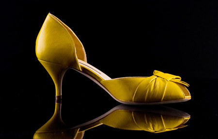 Ffemale shoe on a glossy black background