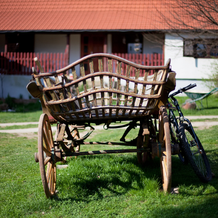 Horse-drawn carriage in retro style, Croatian village Stock Photo - 55145010
