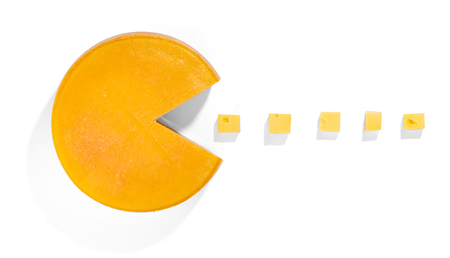 Cheese Pacman - playing with food Stock Photo - 55145202