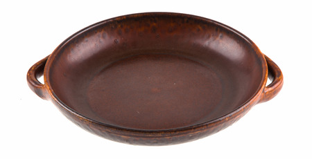 Traditional European brown clay dish Stock Photo