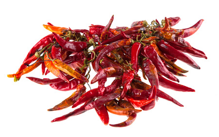 hot peppers: String with dry hot peppers
