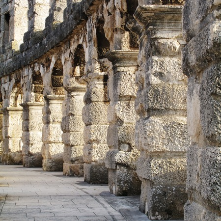 Roman Amphitheater in Pula Croatia Stock Photo - 55145227