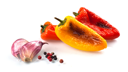 Red and yellow peppers grilled on olive oil Stock Photo - 58036451
