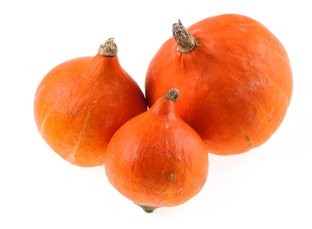 Three Hokaido pumpkins isolated Stock Photo