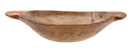 Vintage wooden bowl isolated on white - very old dish Stock Photo