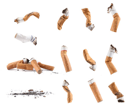 Dirty cigarette buds isolated set