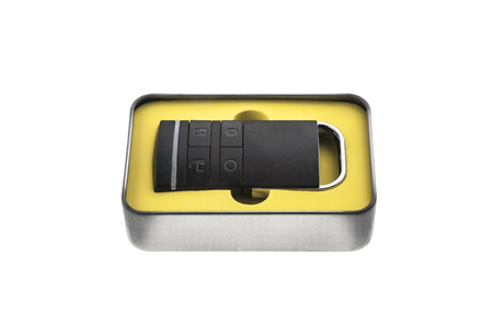 Open metal box container car key Stock Photo - 120142335