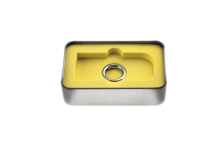 Open metal box container ring Stock Photo