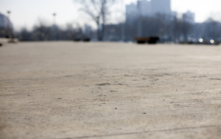 Shallow depth of Field - low angle concrete floor