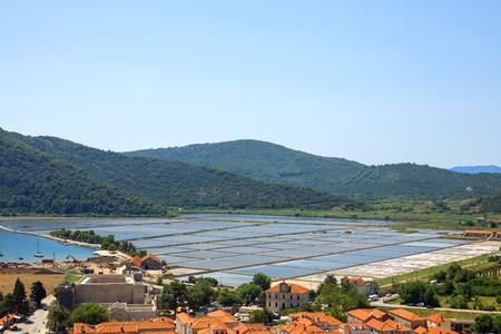 Slat pans in Ston town, Croatia. Stock Photo