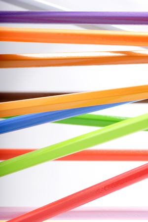 Colored pencils macro studio shot, shallow depth of field