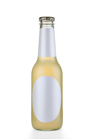 Transparent glass bottle isolaed on white