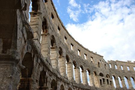 Detail of ancient Roman Amphitheater. Pula, Croatia