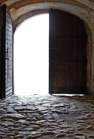 Entrance door and corridor of an old medieval european castle