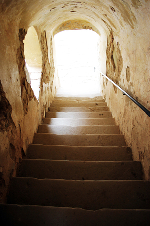 staircase inside old european castle