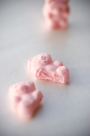 Gummy bear accident concept, macro - shallow dept of field Stock Photo - 121562918