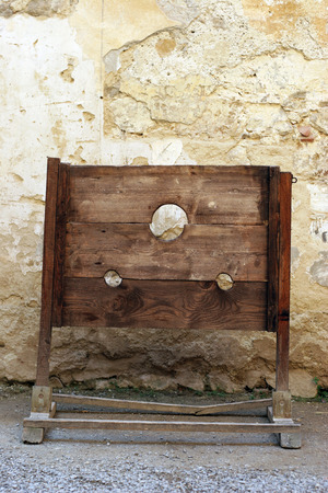 Shame torture tool - pillory at a medieval castle