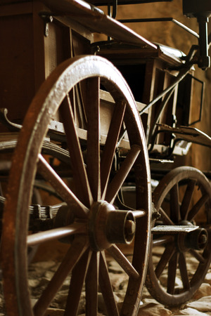 Wooden wheels, spokes and hub of old horse cart