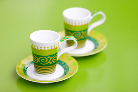 Detail macro studio shot of small colorful coffee cups Stock Photo