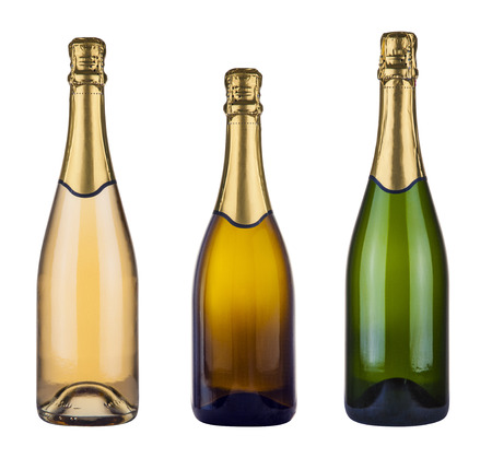 three blank champagne bottles isolated on white Stock Photo - 121562719