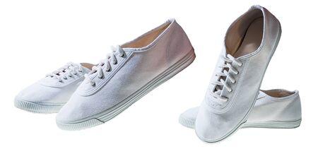 White minimalist sport shoes isolated on white