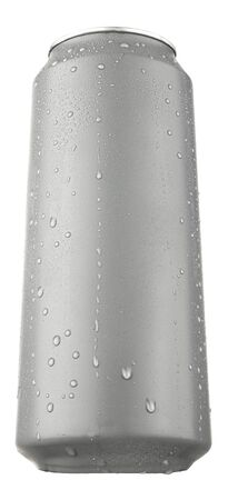Aluminium beverage can mock up isolated on white with waterdrops