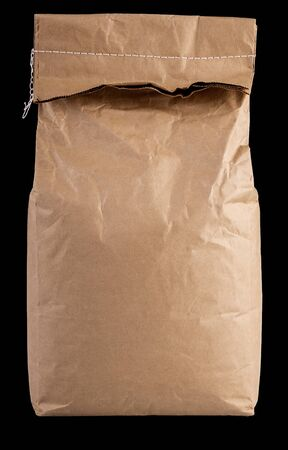 Blank brown paper bag for flour or grain packaging
