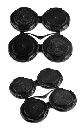 Set of four connected plastic lids for cup package Stock Photo - 146873017