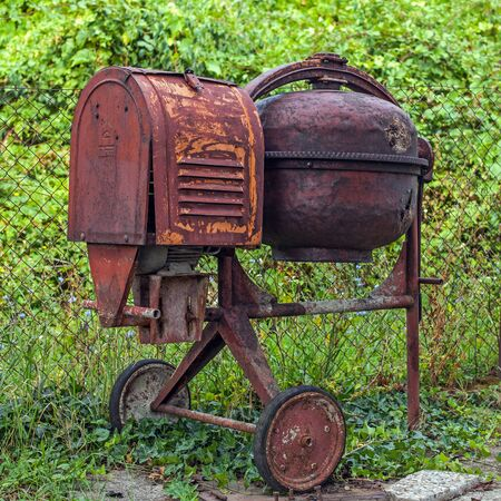 Vintage rusty cement mixer