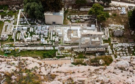 Aerial view of a Archeological site near Acropolis hill