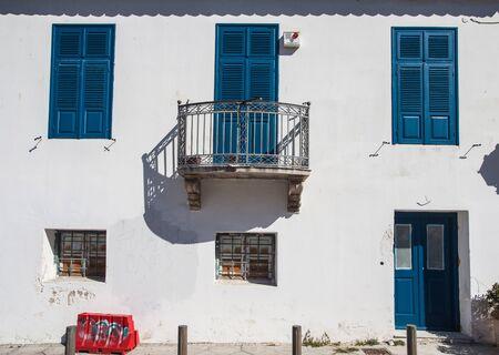 Old vintage building facade Mediterranean style Stock Photo